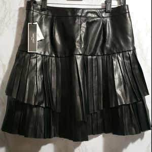 Nine West Faux Leather Double Layer Pleated Skirt